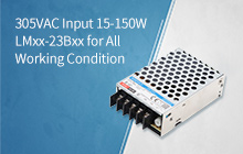 15-150W AC/DC enclosed power supply LMxx-23Bxx in 305RAC family, reliable under all conditions
