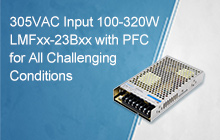 100-320W AC/DC enclosed power supply LMFxx-23Bxx in 305RAC family, reliable under all conditions