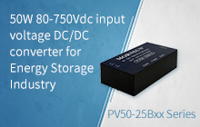 50W 80-750Vdc input voltage DC/DC converter for Energy Storage Industry-- PV50-25Bxx Series
