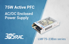305V input 75W AC/DC enclosed power supply LMF75-23Bxx with PFC