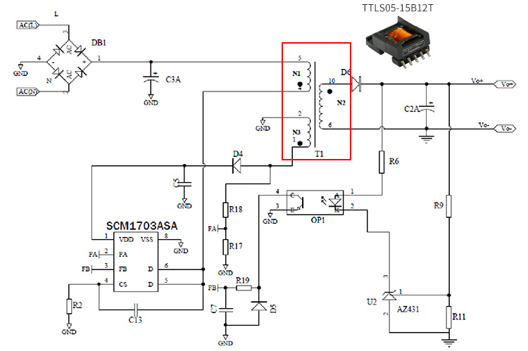 Application of AC/DC Isolated SMD Transformer-TTLS05-15B12T