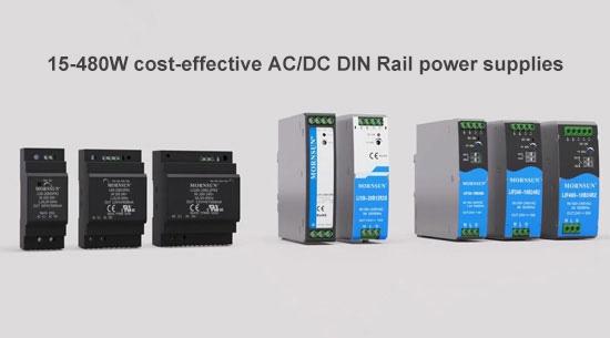 15-480W cost-effective AC-DC DIN-Rail power supplies